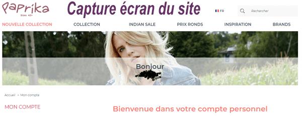 """Accès sur Paprika.fr rubrique """"Mon compte"""""""